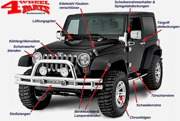 jeep wrangler jk zubeh r edelstahl chrom 4 wheel parts