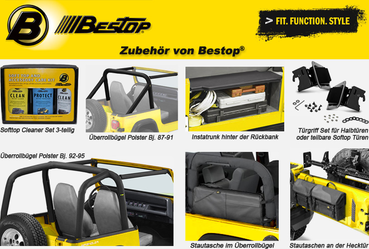 jeep wrangler yj zubeh r von bestop 4 wheel parts. Black Bedroom Furniture Sets. Home Design Ideas
