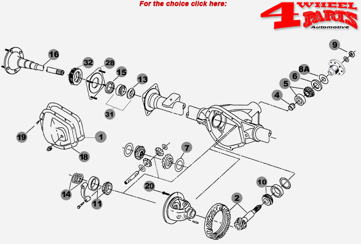 Rear Axle Dana 44/226 Jeep Wrangler JK year 07-18