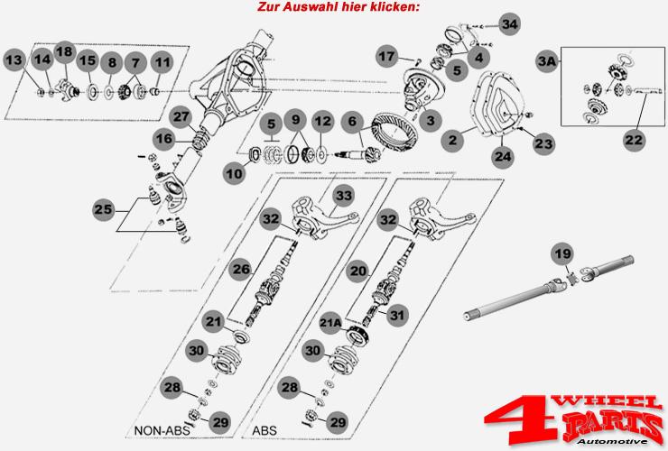 Vorderachse Dana 30 Jeep Wrangler TJ Bj. 97-06