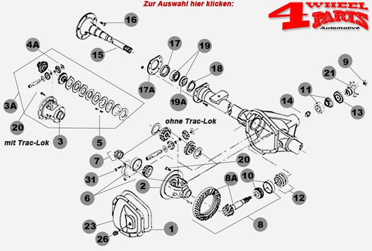 Hinterachse Dana 35 Jeep Wrangler YJ Bj. 87-89