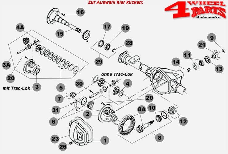 Hinterachse Dana 35 Jeep Grand Cherokee ZJ Bj. 93-98