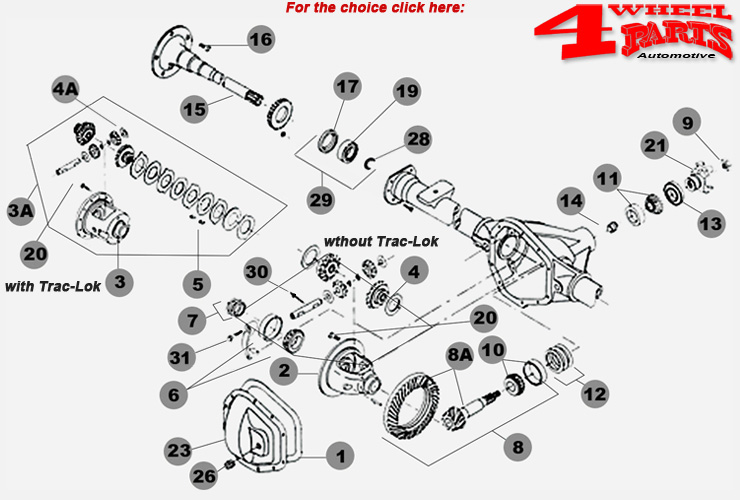 4 Wheel Parts | Rear Axle Dana 35 Jeep Grand Cherokee ZJ year 93-98