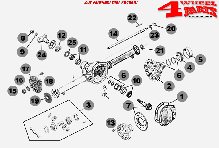 Hinterachse Dana 44 Jeep CJ + Willys Bj. 46-71