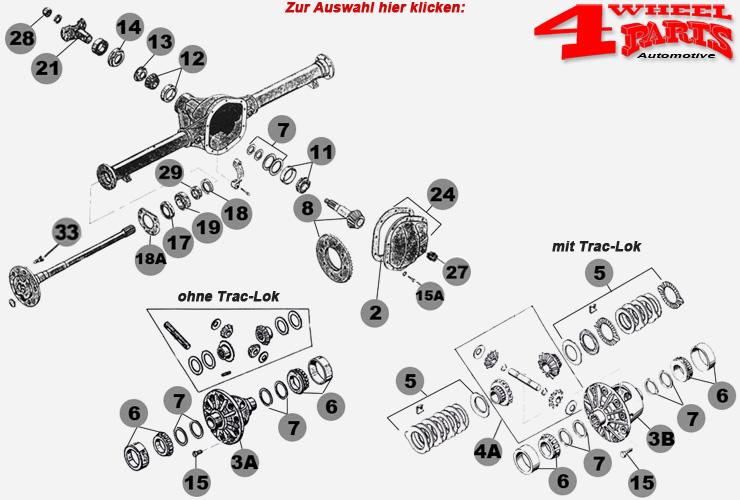 Hinterachse Dana 44 Bj. 72-86 mit geflanschten Steckachsen