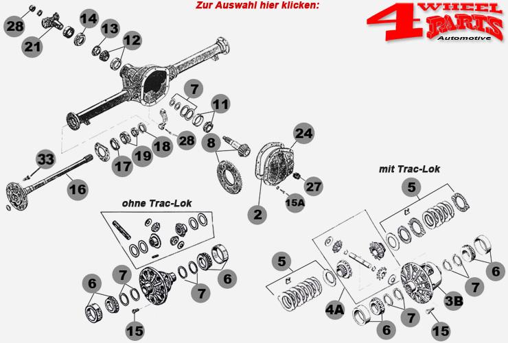 Hinterachse Dana 44 Jeep Wrangler TJ Bj. 97-06