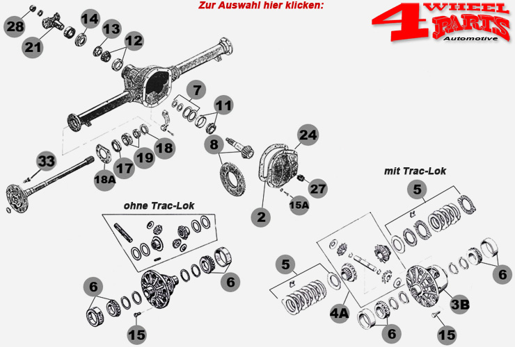 Hinterachse Dana 44 Jeep Wrangler YJ Bj. 87-95