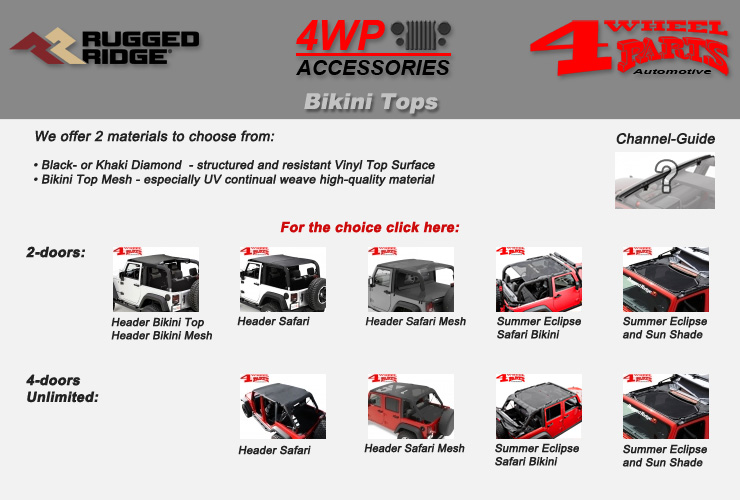 Jeep Wrangler JK Bikini Tops from Rugged Ridge