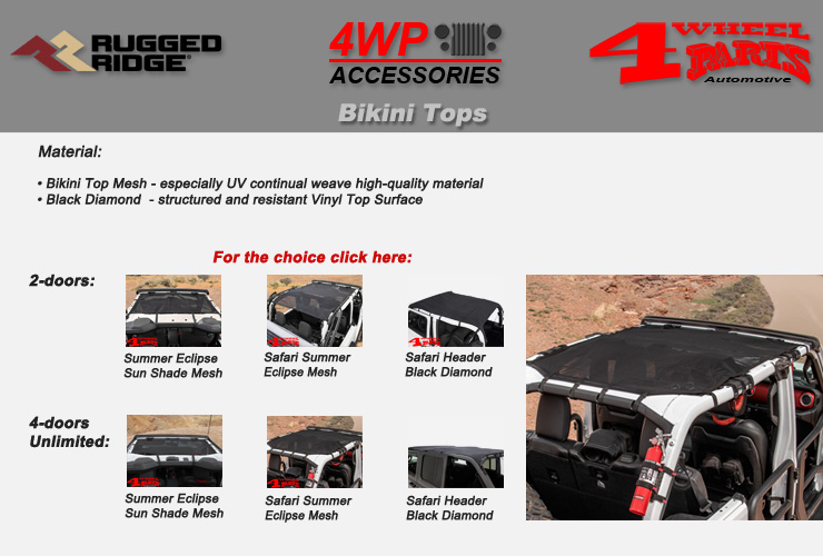 Jeep Wrangler JL Bikini Tops from Rugged Ridge