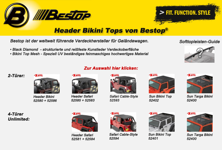 Jeep Wrangler JK Bikini Tops von Bestop