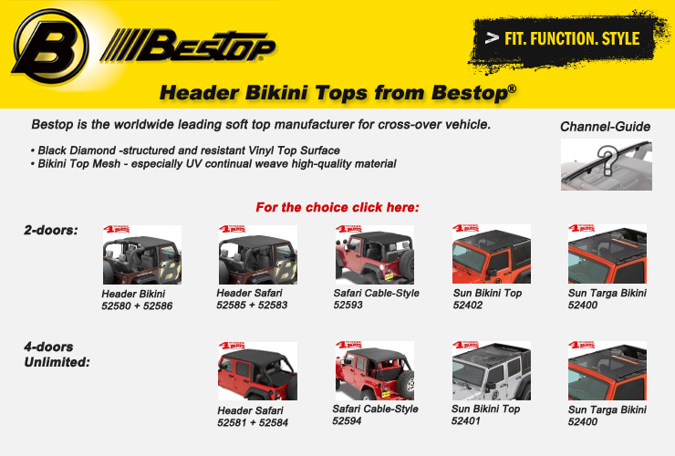 Jeep Wrangler JK Bikini Tops from Bestop