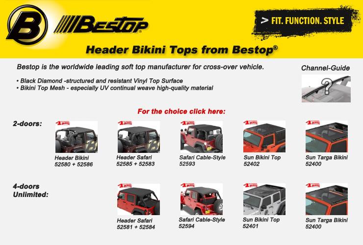 Jeep Wrangler JK Bikini Tops from Bestop