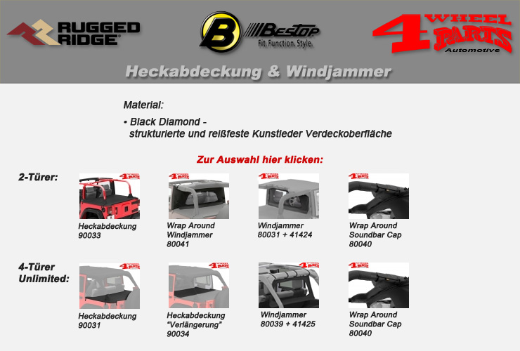 Jeep Wrangler JK Heckabdeckung & Windjammer Bestop