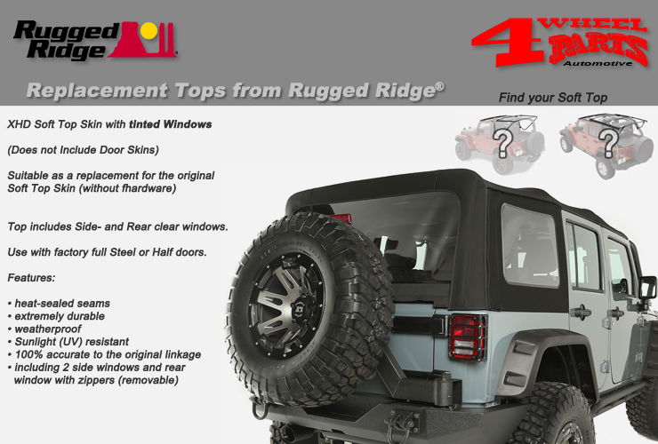 Jeep Wrangler JK Replacement Soft Top Skins from Rugged Ridge