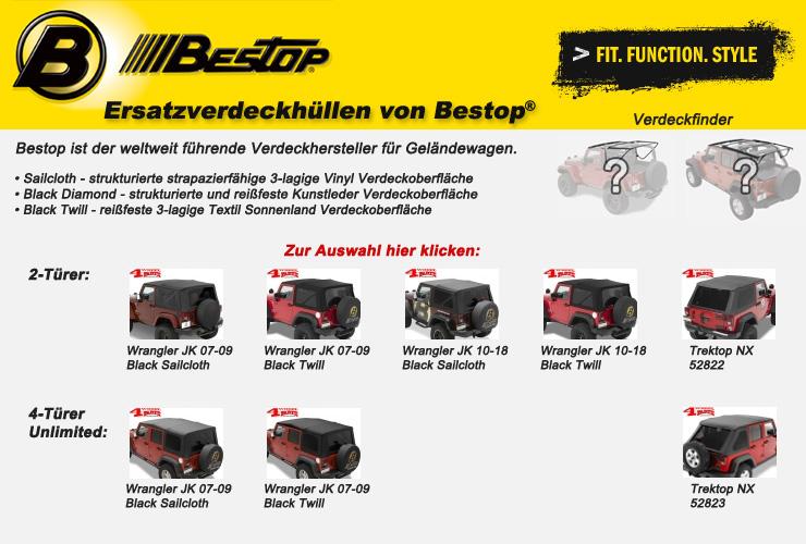 Jeep Wrangler JK Ersatzverdeckhüllen Bestop