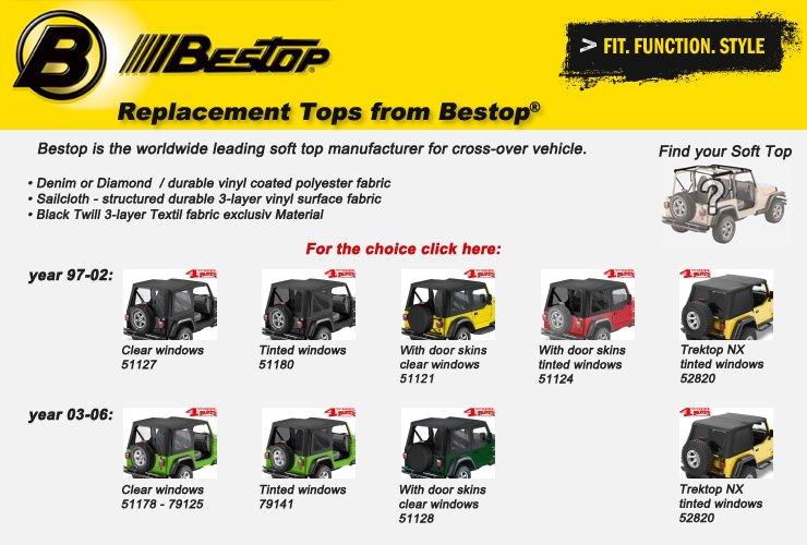 Jeep Wrangler TJ Replacement Soft Top Skins Bestop
