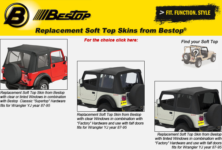 Jeep Wrangler YJ Replacement Soft Top Skins from Bestop