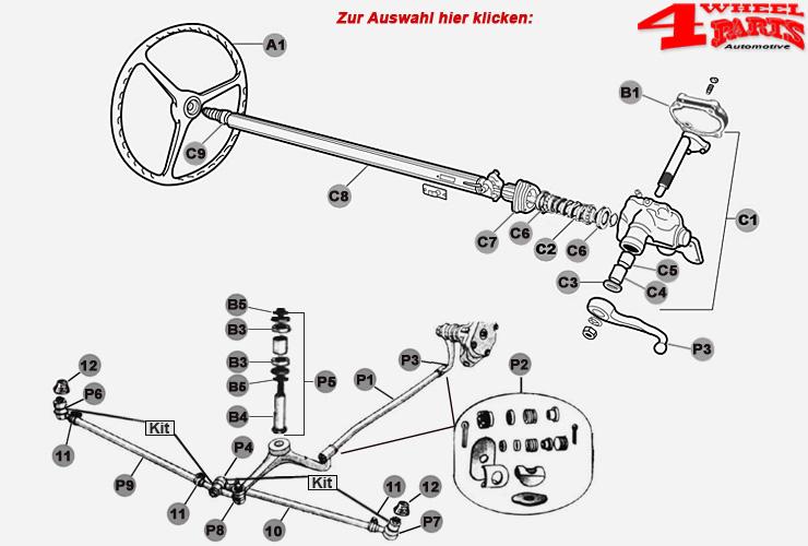 Jeep CJ2 CJ3 M38 Willys Federung & Fahrwerk & Lenkung