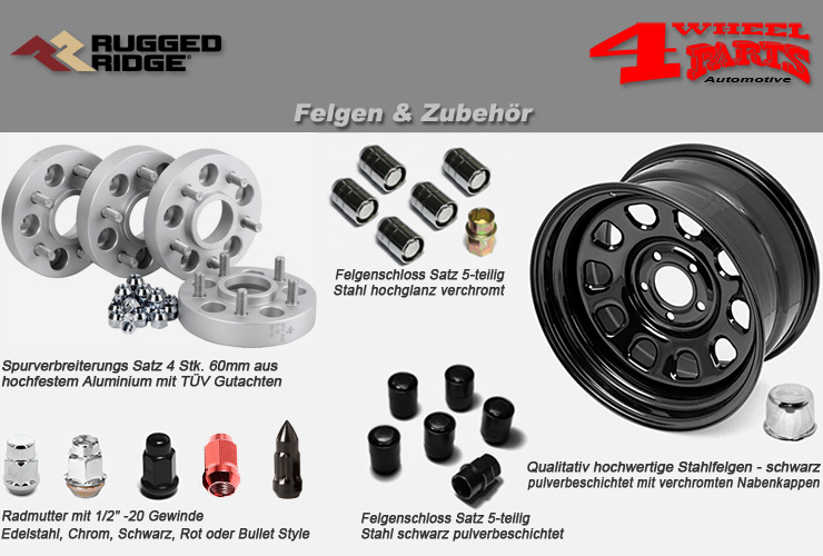 jeep wrangler yj felgen zubeh r 4 wheel parts. Black Bedroom Furniture Sets. Home Design Ideas
