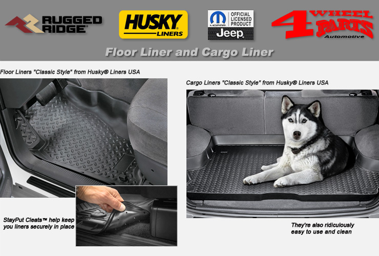 Rugged Ridge 12988.30 Black All-Terrain Front and Rear Floor Liner Kit 4 Pieces