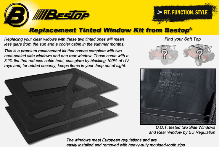 Jeep Wrangler JK Tinted Window Kits from Bestop