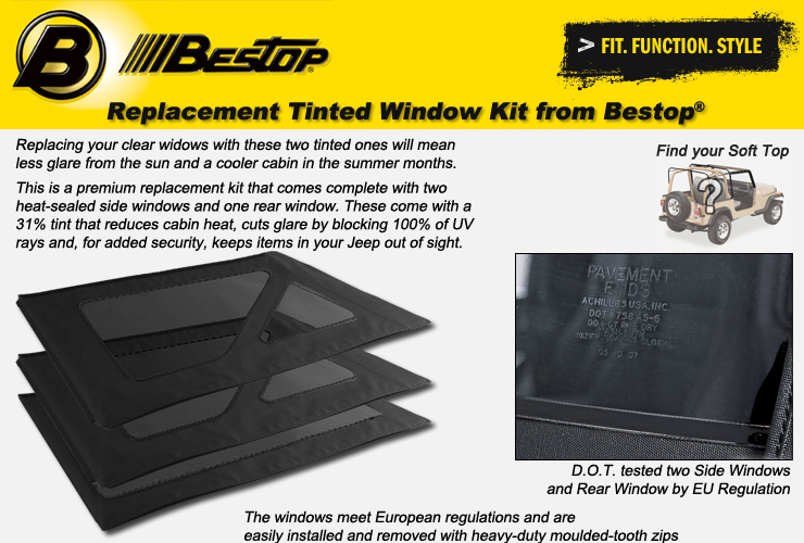 Jeep Wrangler YJ Tinted Window Kits from Bestop