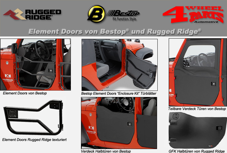 Jeep Wrangler JK Halbtüren & Element Doors & Aufsteckfenster