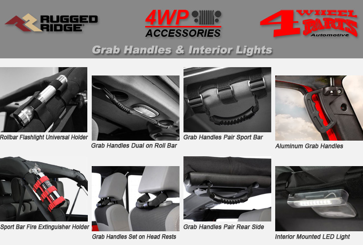 Rugged Ridge 13505.30 Set of 2 Universal Black Paracord Roll Bar Grab Handles Auto Parts & Accessories Auto Parts and Vehicles