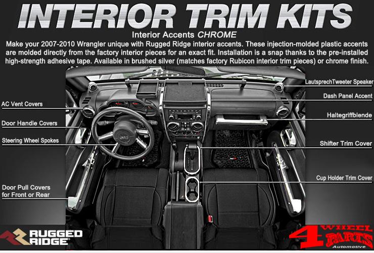 Jeep Wrangler Jk Interior Accents Chrome Year 07 10 4 Wheel Parts