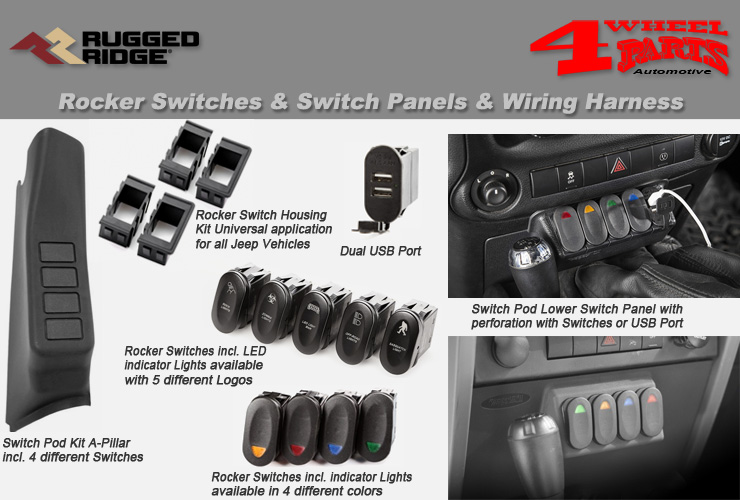 jeep wrangler jk rocker switches & switch panels & rear view mirror   4  wheel parts  4 wheel parts