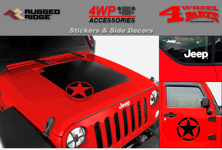 White Jeep Fender Side Body Decals 1997-Up Jeep Wrangler TJ 1 Pair