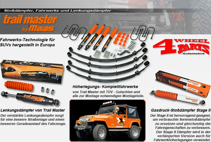 4 wheel parts | jeep wrangler yj stoßdämpfer & höherlegung von
