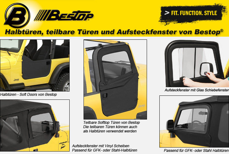 jeep wrangler tj t ren aufsteckfenster von bestop 4 wheel parts. Black Bedroom Furniture Sets. Home Design Ideas