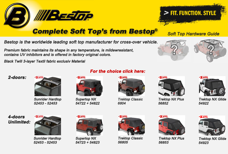 Jeep Wrangler JK Complete Soft Tops from Bestop