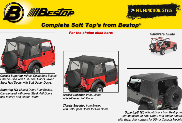 Jeep Wrangler YJ Complete Soft Soft Tops from Bestop