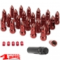 "Preview: Wheel Lug Nut Set with Valve Stem Caps Red Bullet Style 1/2"" Jeep"