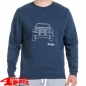 "Mobile Preview: Rundhals Sweatshirt ""Vehicle"" Blue Light Grey"