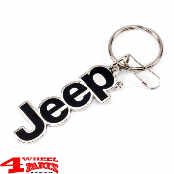 "Keychain ""Jeep"" Logo Silver Metal Enamel coated by Plasticolor"