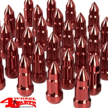 "Wheel Lug Nut Set with Valve Stem Caps Red Bullet Style 1/2"" Jeep"