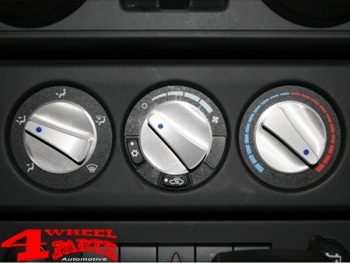 Billet Aluminum Climate Control Knobs Blue Backlit Wrangler JK year 07-10