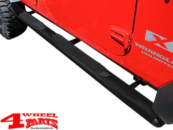 Side Tube Steps Ø 108mm oval textured Wrangler JK year 07-18 4-doors