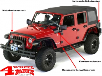 Body Corner Guards 2 pce. Black Wrangler JK year 07-18 4-doors