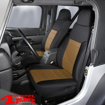 Terrific Seat Covers Neoprene Front Black Tan Wrangler Tj Year 03 06 Dailytribune Chair Design For Home Dailytribuneorg