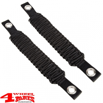 Grab Handles Pair Black Rear Side or Front A-Pillar Paracord JK JL