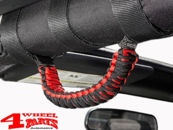 Grab Handles Pair Red Sport Bar Paracord Jeep year 76-19
