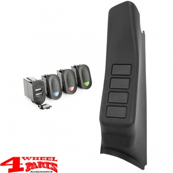 Switch Pod Kit A-Pillar + 4 Switches + USB Port Right Wrangler JK year 07-10