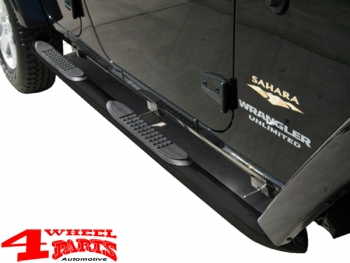 Side Tube Steps Europe Ø 75mm Black TÜV Wrangler JK year 07-18 4-doors