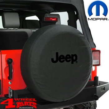 Tire Cover Mopar Jeep Logo Black CJ + Wrangler YJ TJ JK year 76-18