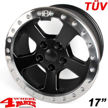 Aluminum Wheel 8,5x17 ET +10 Beadlock Bright Polished TÜV Wrangler JK year 07-18