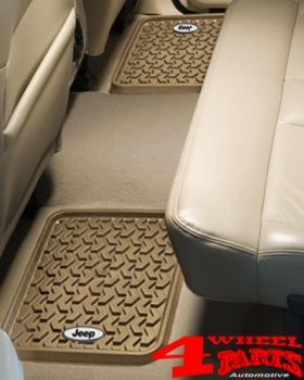 Floor Liner Set Rear Tan with Logo for Jeep Models